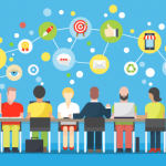 graphic illustration of a group of people around a board table